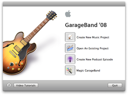 Screenshot of GarageBand '08